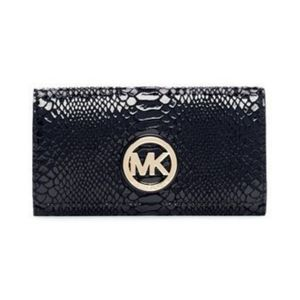 Michael Kors Fulton Python Snakeskin wallet black